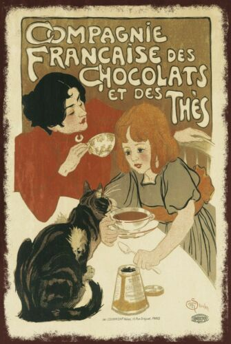 French Style Hot Chocolate advert aged look Vintage Retro style Metal Sign