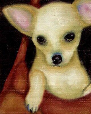8x10 CHIHUAHUA Pop Art PRINT Signed Dog Art of Original Painting Artwork by VERN