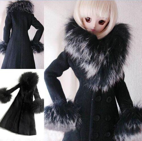 600# Black Fur Collar Coat PF Clothes 1//3 SD AOD DOD DZ BJD Dollfie
