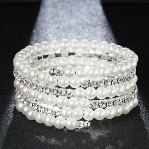 Wedding-Bridal-Crystal-Pearl-Stretch-Bracelet-Bangle-Wristband-Women-Jewelry-New