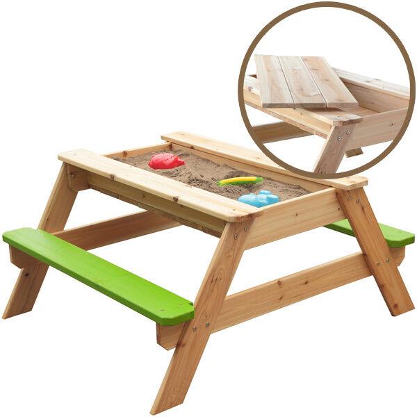 Sun Kindersitzgarnitur mit Sandkasten FROTdy 2in1 Natur-Grün Sitzbank Kinder NEU