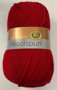 Lion-Brand-Lion-s-Pride-Woolspun-Yarn-Red-671-113-Bulky-Wt-20-Wool-127-Yds