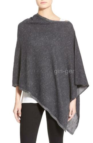 NWT NIP $178 EILEEN FISHER Plaited Organic Linen & Cotton Poncho CHARCOAL Gray