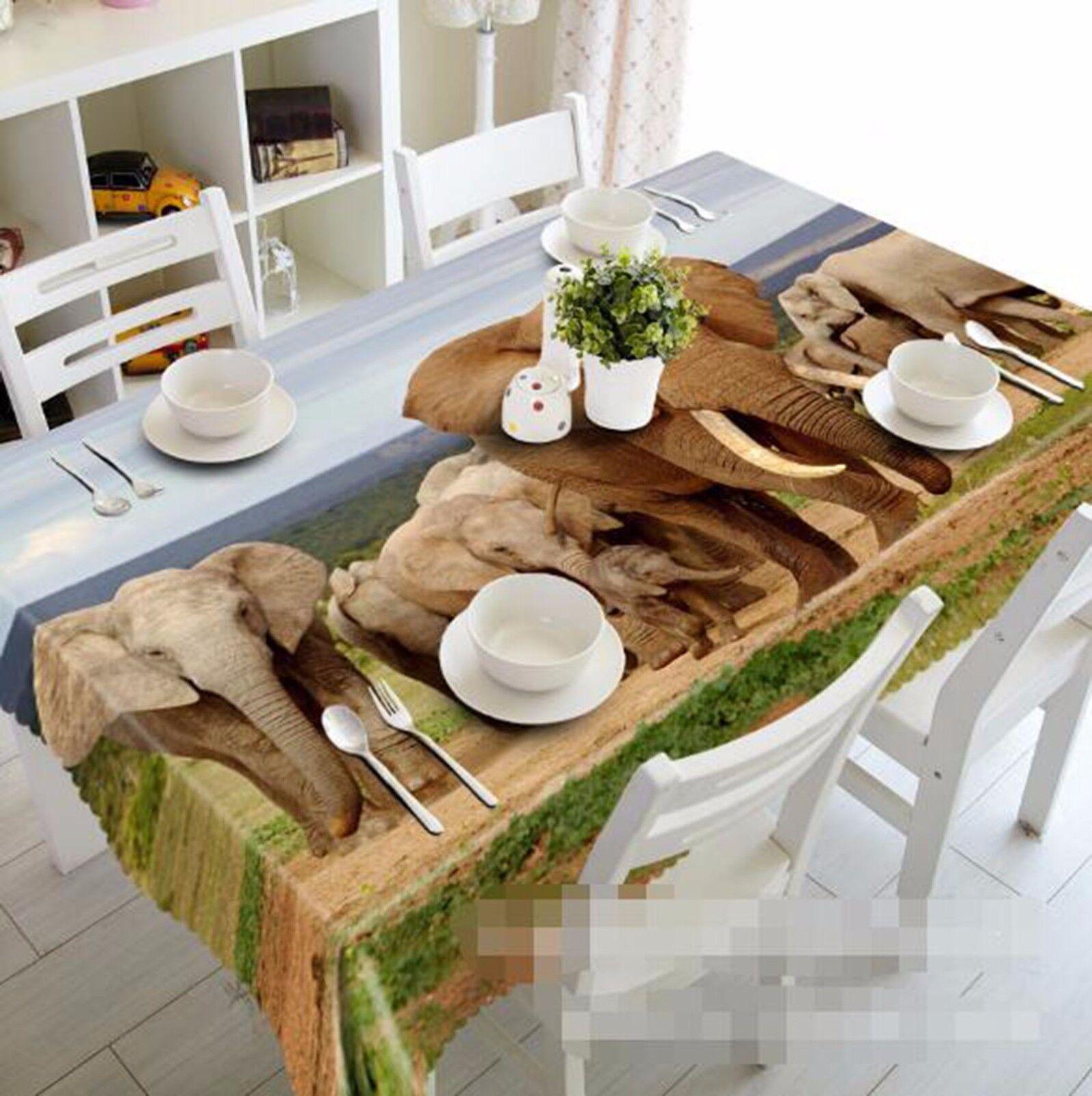 3D éléphant 4 Nappe Table Cover Cloth fête d'anniversaire AJ papier peint Royaume-Uni Citron