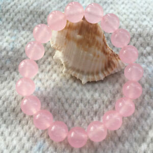 New-6-8-10-12-14mm-Round-Pink-Jade-Gemstone-Beads-Stretchy-Bangle-Bracelet-7-5-034