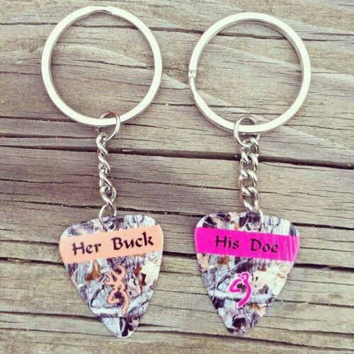 Her Buck and His Doe Guitar Pick keychain set mossy oak camo browning deer girl