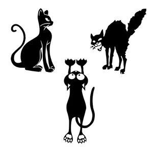 Adesivi Murali Low Cost.Details About Cats Tris Wal Sticker Cropped Pvc Black Gatti Adesivi Murali Scontornati 3 Pz