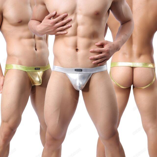 Sexy Brand Men's Rare Shiny Jockstrap Underwear Faux Leather  Boxer Thong M L XL