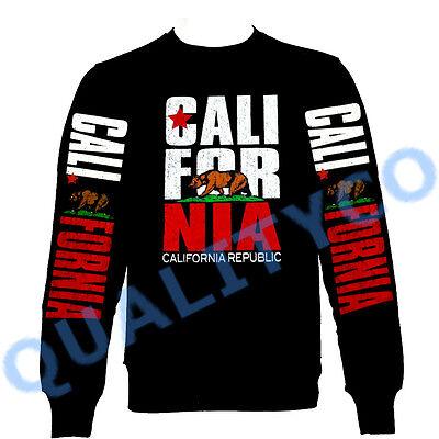 New California Republic Black Zipper Hoodie Sweater Cali dope diamond sweatshirt