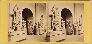 Italia Museo Da Napoli Sala Dei Imperatori c1865 Foto Stereo Vintage Albumina
