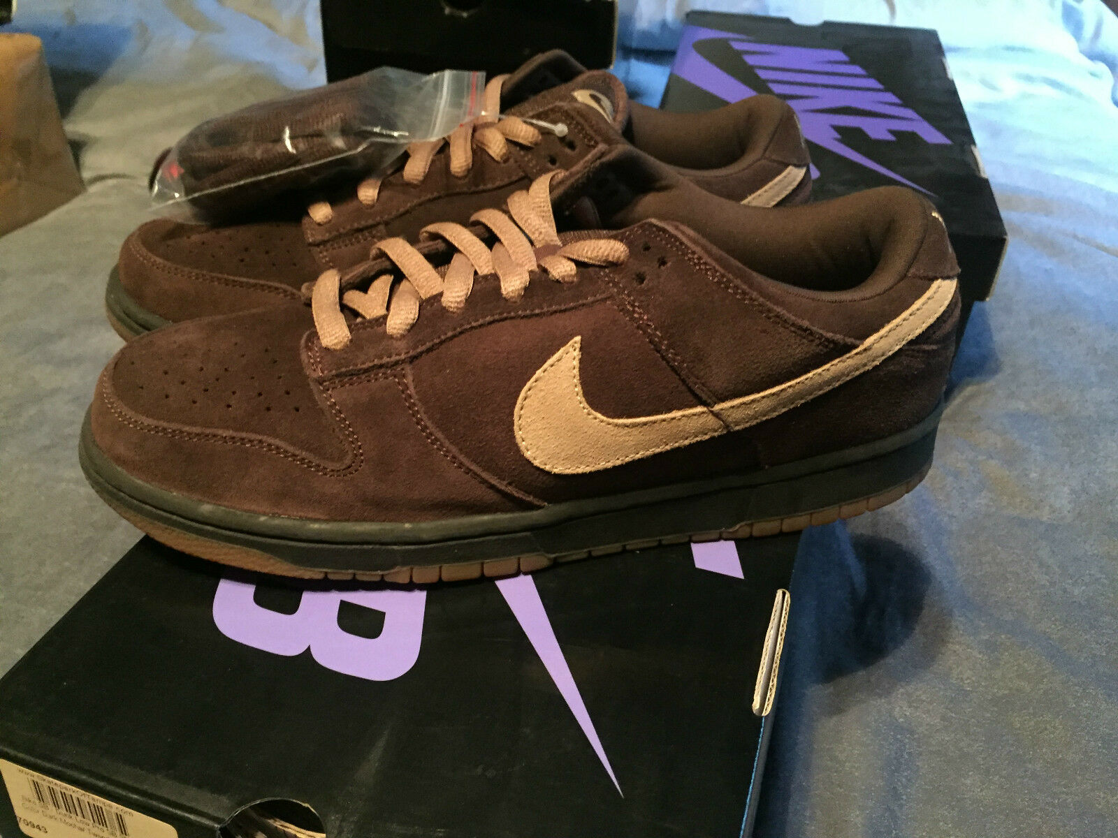 304292 229 NIKE DUNK LOW PR0 SB  MOCHAS  RARE 2007 RELEASED   SIZE 10