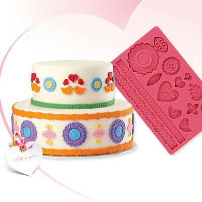 Cute14 Modles Silicone Fondant Cake Embossing Gum Paste Decorating Baking Mold