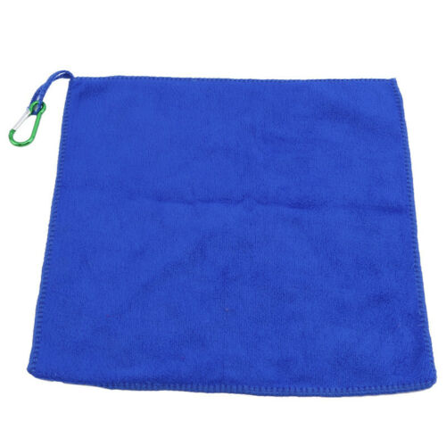 Soft Bait Towel Hand Towels Carabiner Clip Plain Dyed Blue Hook Fishing Towel HD
