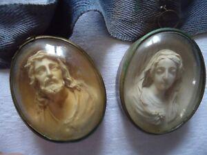 2-Portraits-religieux-en-gros-medaillon-034-Le-Christ-amp-La-Vierge-034