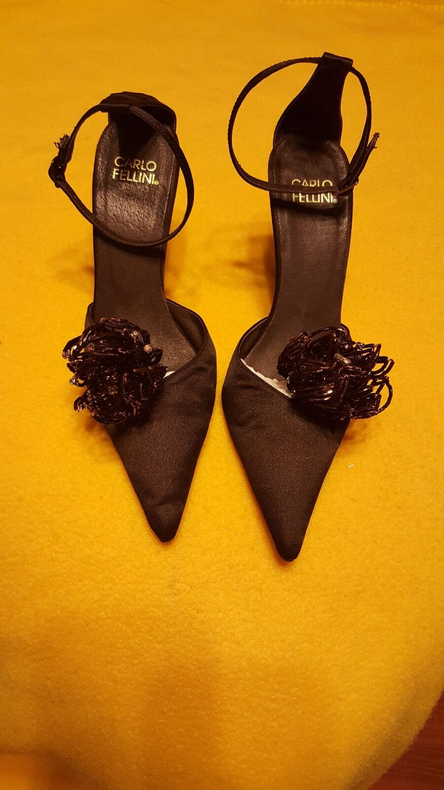 Carlo Fellini Satin Formal schuhe With Beaded And And And Crystal Floral Accent 902b1b