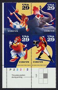 #2753a 29c Circo, Placa Bloque [P22222 Ll ] Nuevo Cualquier 4=