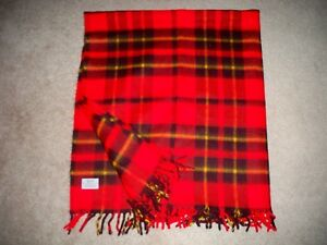 Vintage-Faribo-Faribault-Plaid-Blanket-Throw-Red-Stadium-50-034-x-54-034-with-Fringe