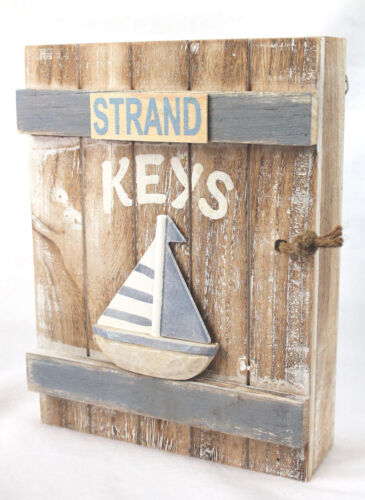 Schlüsselbox Strand Holz 24 cm Sand Hellblau Schlüsselkasten