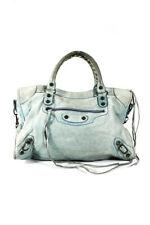 Balenciaga Womens Leather Shoulder Bag Handbag Light Blue