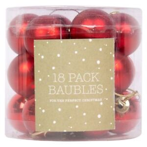 Christmas-Tree-Glitter-Baubles-Decor-Red-Hanging-Tree-Ornament-18-Pack-3-cm