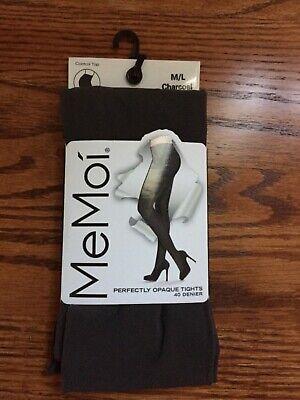 MeMoi Legwear Tights 2 Pair Opaque Black Gray Textured L//XL NWT$24