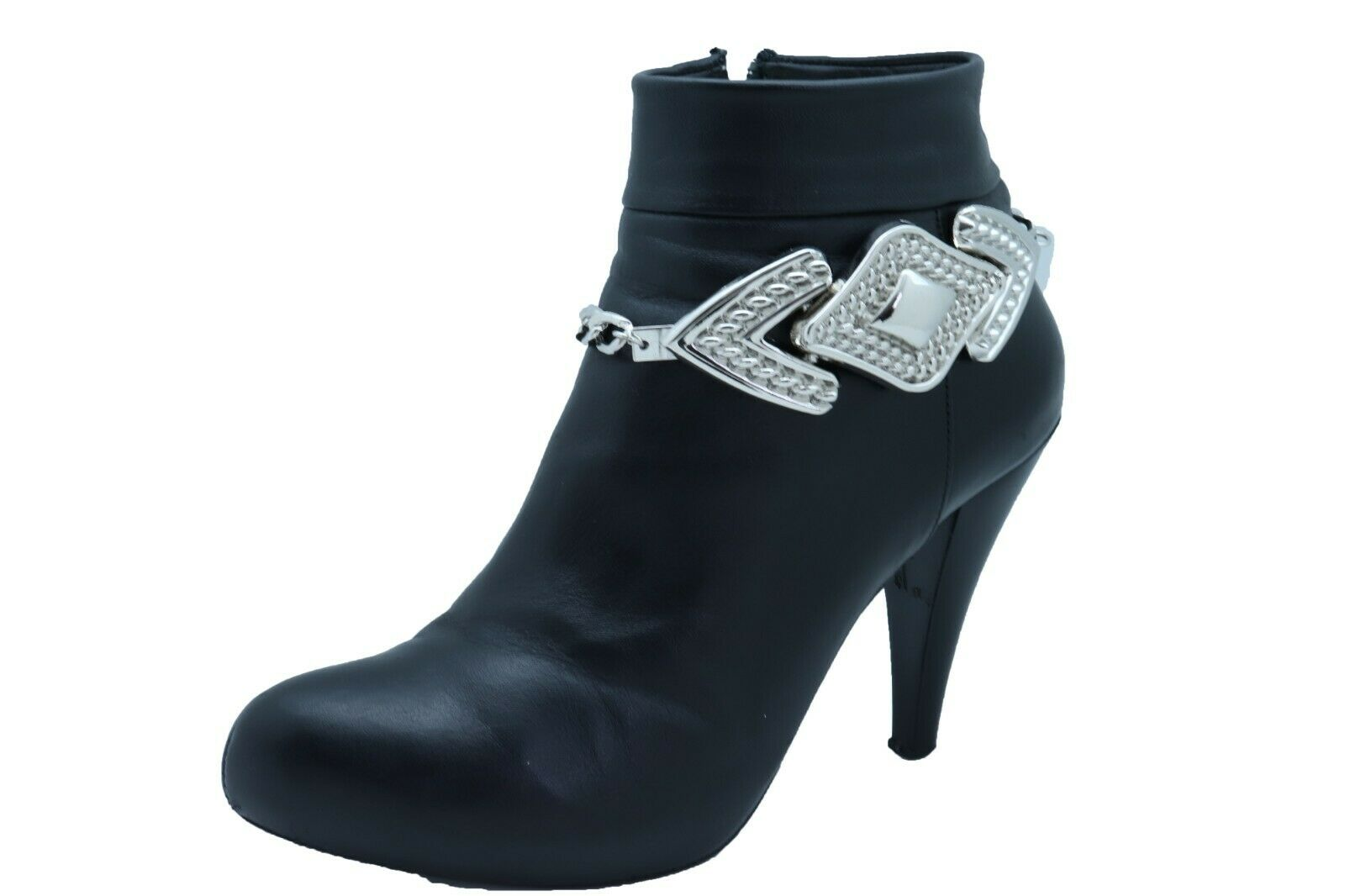 Women Silver Boot Chain Bracelet Western Shoe Arrow Bold Charm Adjustable Size