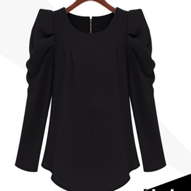 Autumn Women Puff Sleeve Zip Back Top Cotton Shirt Casual Tee Career Blouse