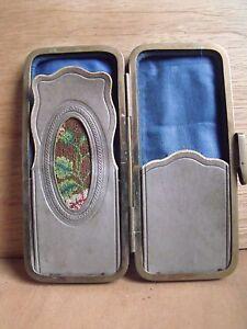 Antique-Spectacles-Case-Needlepoint-Panel-Leather-Etui-Pince-Nez-Free-UK-Post