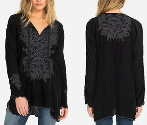 NWT-Johnny-Was-Tania-XS-Womens-Embroidered-Long-Sleeve-Blouse-Boho-Tunic-Black