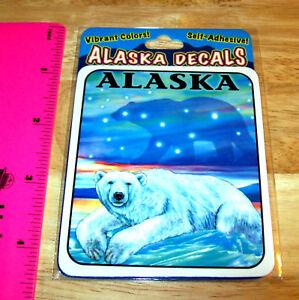 Alaska-sticker-Decal-Polar-Bear-Aurora-Northern-Lights-amp-big-dipper-in-sky