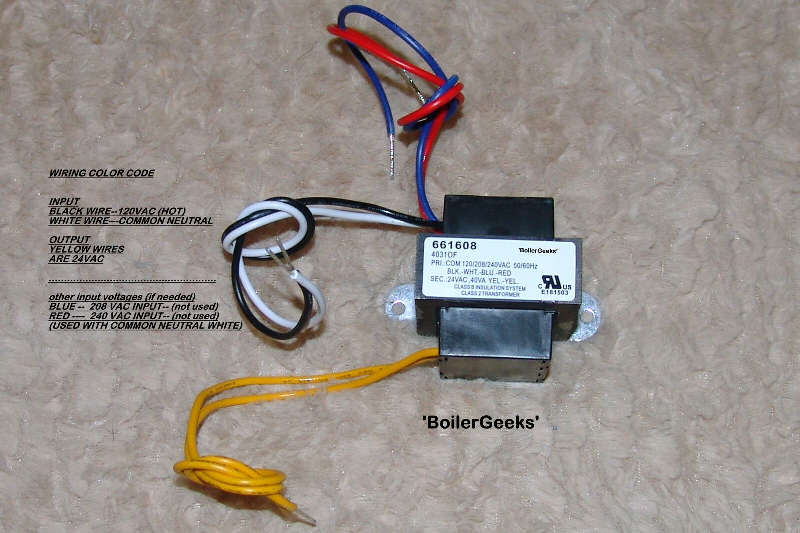 24 Volt Boiler Furnace Control Circuit Transformer 120v Input 24v Wire Color Code Hot Neutral Norton Secured Powered By Verisign