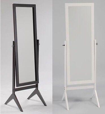Swivel Full Length Wood Cheval Floor Mirror, Espresso/White Finish New