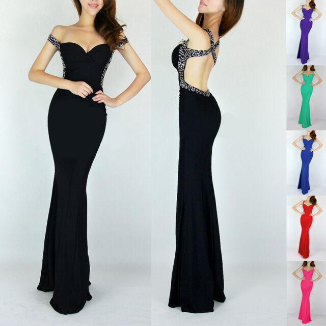 2014 Sexy Women's Backless Mermaid Formal Evening Prom Banquet Long Maxi Dresses