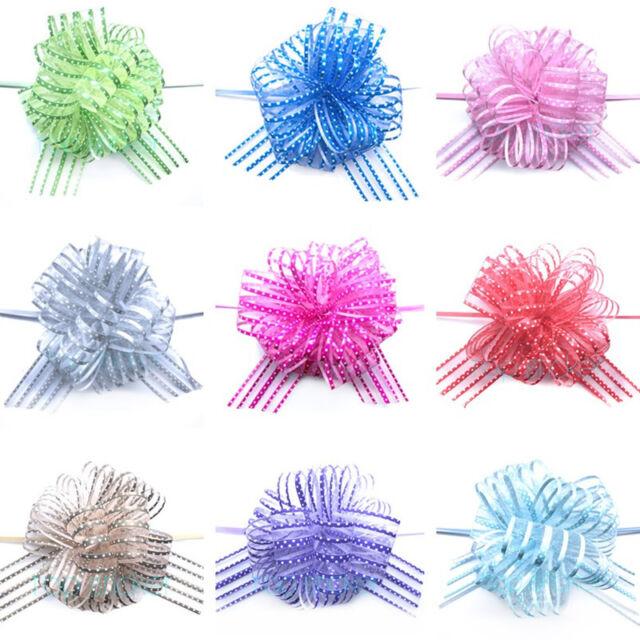 5CM large Organza Polka Dots Bows Craft Wedding Party Florist Pull bow Ribbon GB