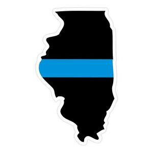 Illinois-IL-State-Thin-Blue-Line-Police-Sticker-Decal-178-Made-in-U-S-A