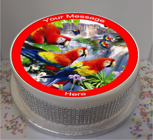 """Personnalisé oiseaux tropicaux 7.5/"""" Comestible Glaçage Cake Topper Anniversaire perroquet"""