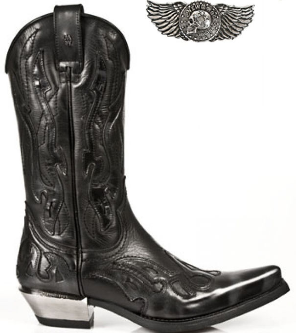 Newrock Argento Donna 7921-s3 NEW ROCK LEATHER West Nero e Argento Newrock Cowboy Stivali In Pelle de64e2