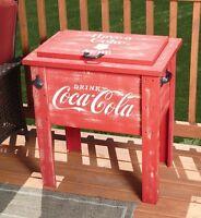 Coca-cola Wooden 54 Quart Deck Cooler Coke Wood Patio Party Outdoor Vtg