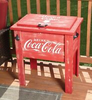 Coca-cola Wooden 54 Quart Deck Cooler Coke Wood Patio Party Outdoor Vtg
