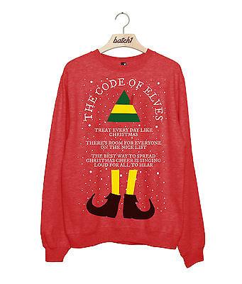 UNOFFICIAL CODE OF ELVES CHRISTMAS BUDDY THE ELF MENS XMAS SWEATSHIRT JUMPER