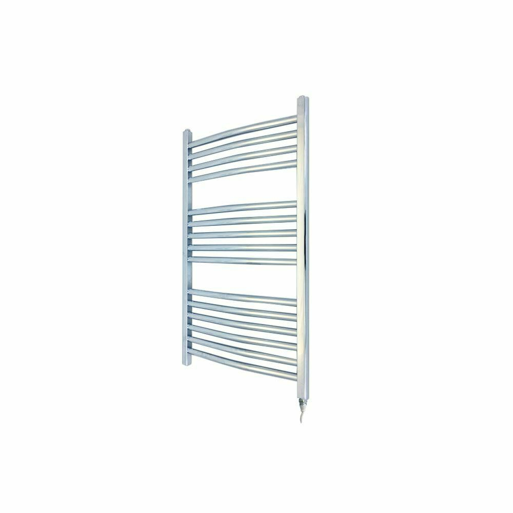 400 mm x 800 mm Courbé Chrome 150 W fixe Temp Electric serviette RAIL & Element