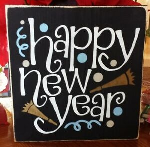Primitive Sign Happy New Year! Confetti Horns Wooden Sign   eBay