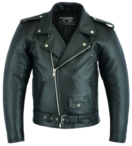 Mens Real Leather Brando Motorcycle Motorbike Perfecto Cowhide Jacket  XS - 7XL
