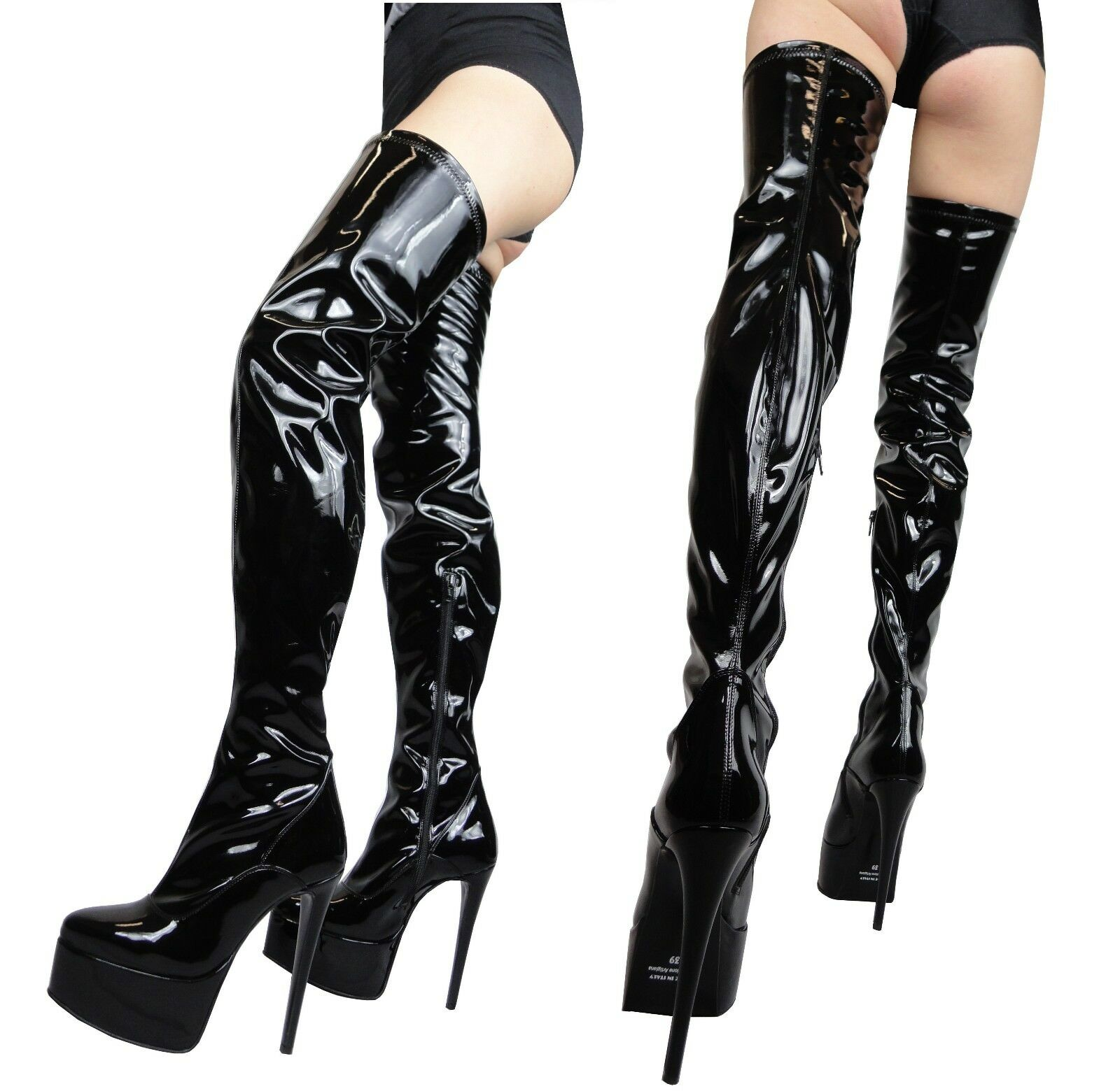GIOHEL PLATFORM OVERKNEE READY STIEFEL STRETCH PATENT LEATHER SCHWARZ