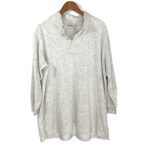 SOFT-SURROUNDINGS-Womens-Sz-PL-Tunic-Top-Cowl-Neck-3-4-Sleeve-Light-Gray