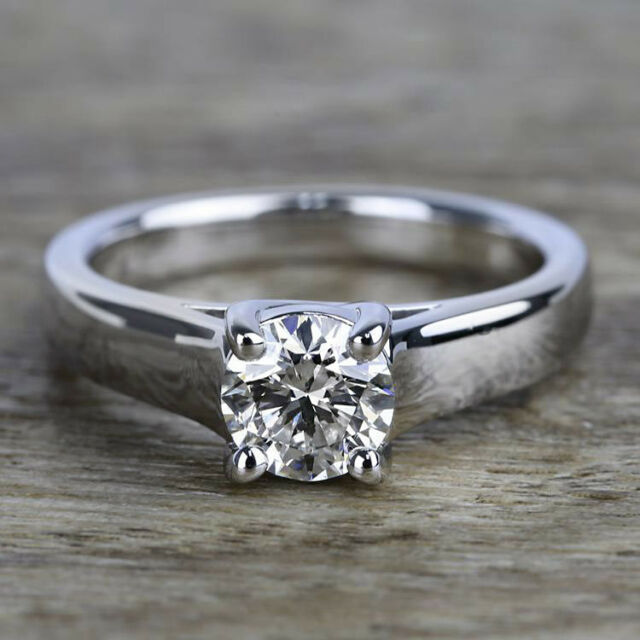Solitaire 1.00 Carat VS2/G Round Cut Natural Diamond Engagement Ring White Gold