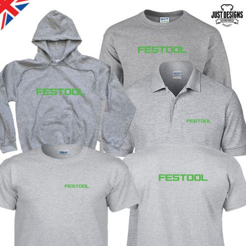 FESTOOL Grey T-shirt Hoodie Hoody Polo Shirt Jumper Vest S-5XL Power Tools Work
