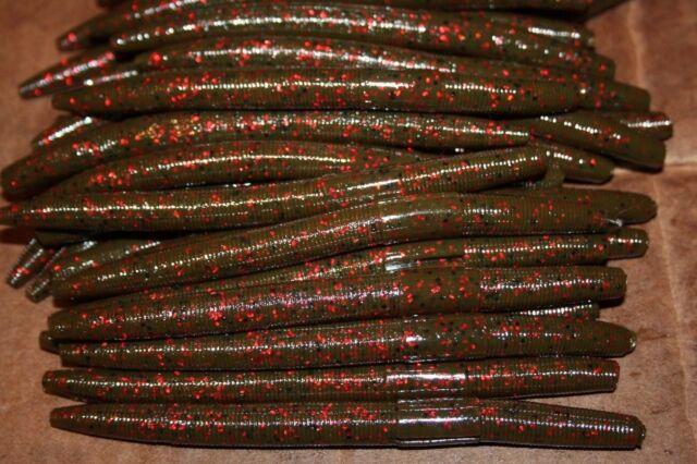 """5/"""" Stick Senko Style Green Pumpkin Red Fleck 50 pack Bulk Bass Plastic Worms"""
