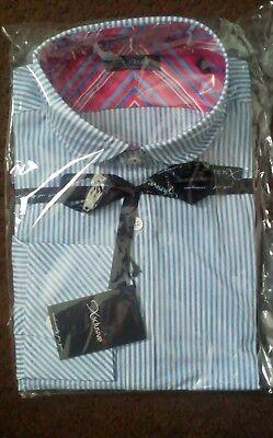2 X Qualità Da Uomo Slim Fit (blu A Righe) Camicie Made In Uk Collar 16.5 Piccoli- Fornitura Sufficiente