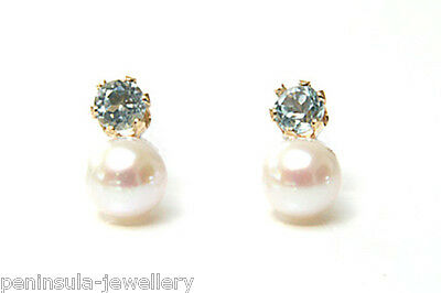 9ct Gold Cultured Pearl and Sapphire Stud earrings Gift Boxed Studs Made in UK